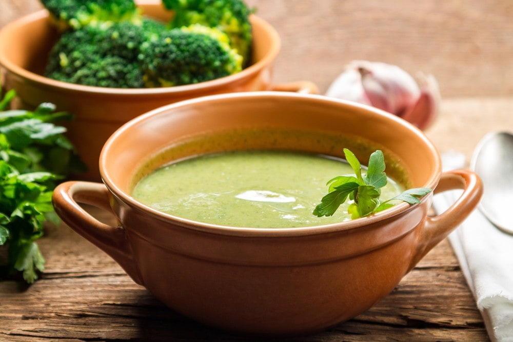 Closeup of broccoli soup made of fresh vegetables