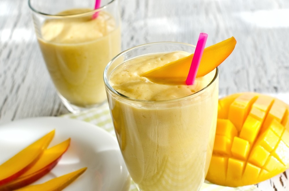 Healthy mango smoothie to drink  horizontal
