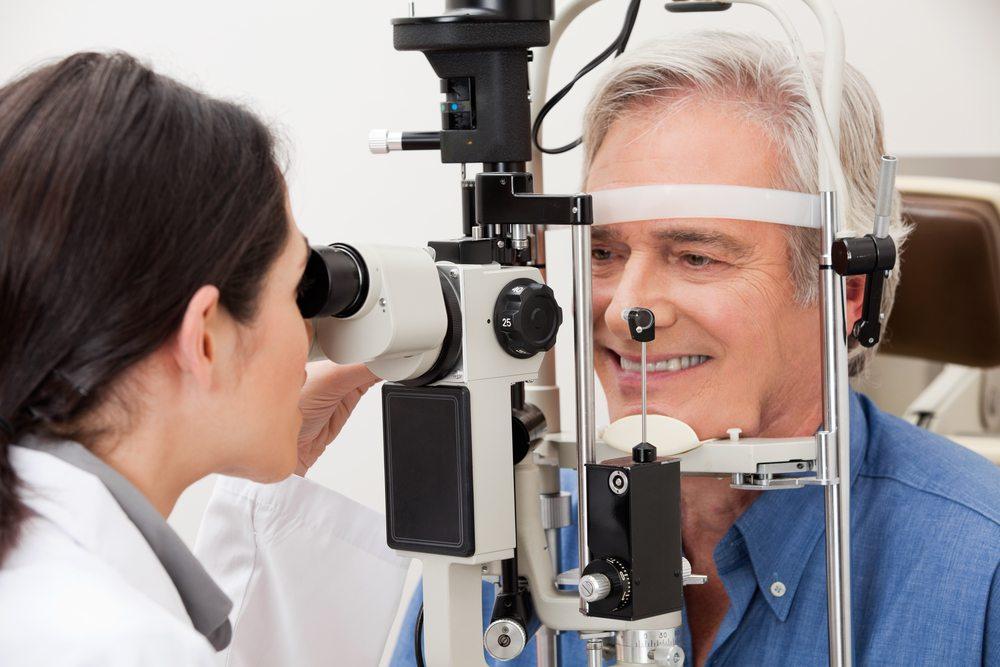 Man Undergoing a Visual Field Test